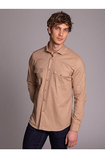 Dufy Bej Pamuklu Çıt Çıt Düğme Erkek Gömlek - Slım Fıt