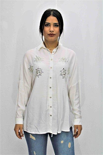Swass Beyaz Renkte Taş Detaylı Gömlek