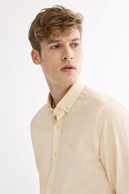 Avva Erkek Sarı Seersucker Düğmeli Yaka Slim Fit Gömlek A01s2225