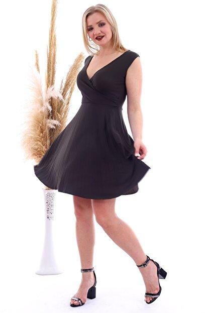 Cotton Mood 20070781 Örme Krep Eteği Pliseli Kruvaze Yaka Kolsuz Elbise Hakı