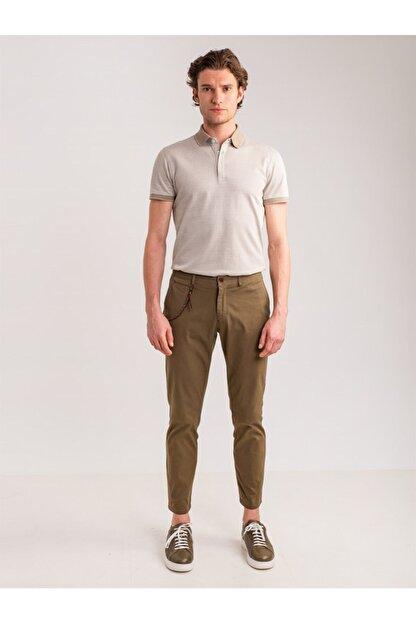 Dufy Haki Aksesuar Detaylı Armür Pamuklu Likra Erkek Pantolon - Modern Fit