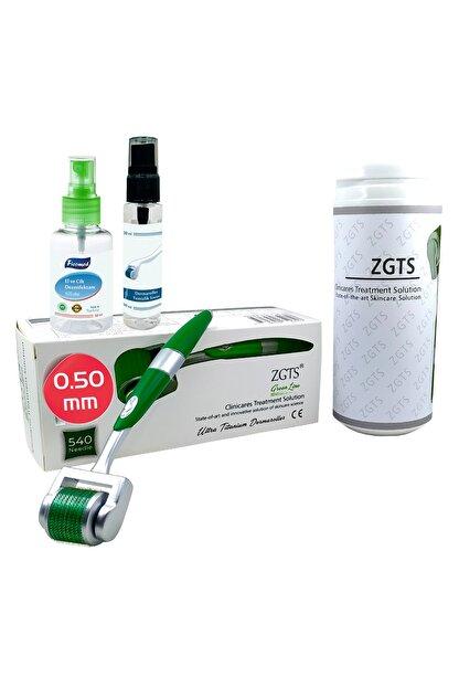 Zgts Green Line Dermaroller 0.50 mm Titanyum 540 İğneli Saç Yüz Cilt İçin Derma Roller