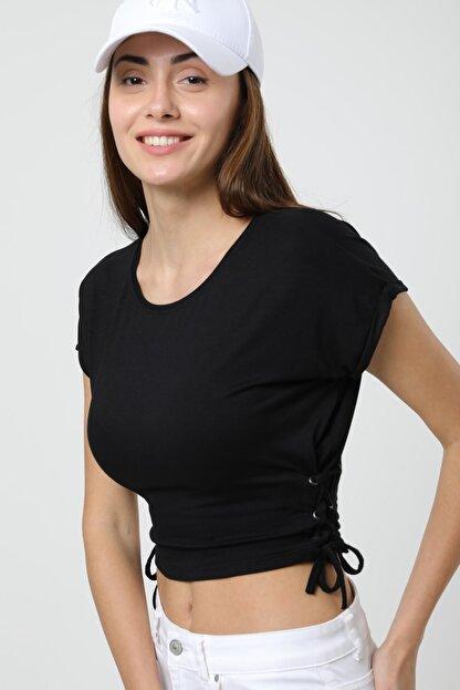MD trend Kadın Siyah Büzgülü Yumuşak Dokulu Basic Crop Örme T-shirt