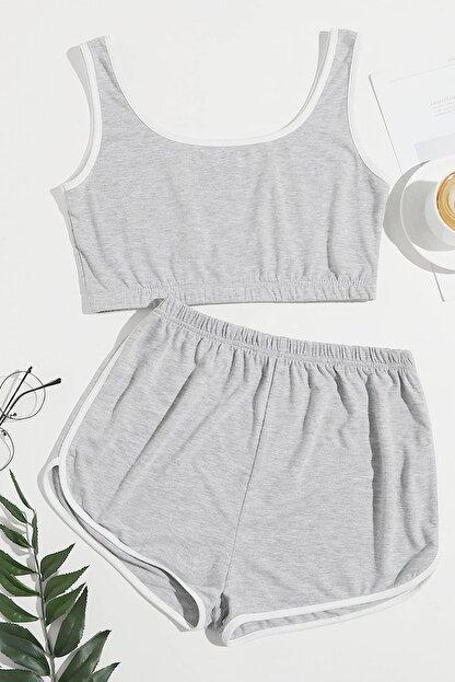 Imoda Kadın Gri Askılı Pamuklu Pijama Takımı