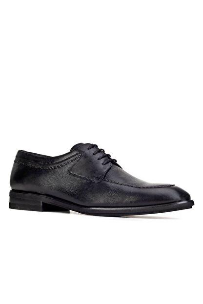 Cabani Işleme Detaylı Light Taban Bağcıklı - Erkek Ayakkabı Siyah Analin Deri