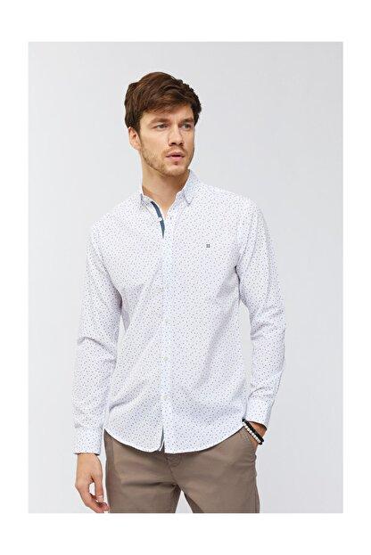 Avva Erkek Beyaz Baskılı Düğmeli Yaka Slim Fit Gömlek A91s2036