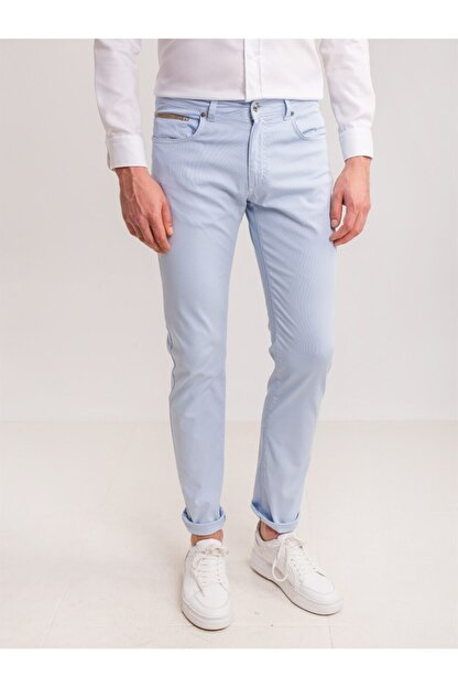 Dufy Buz Mavisi Pamuk Likra Karışımlı Erkek Pantolon - Modern Fit