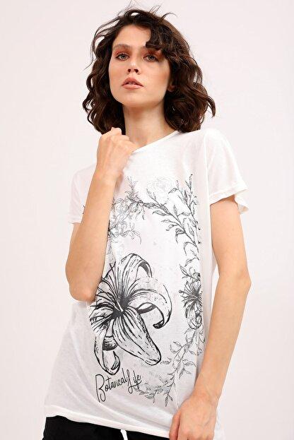 metropol tekstil Krt-066 Desenli Tshirt Krem