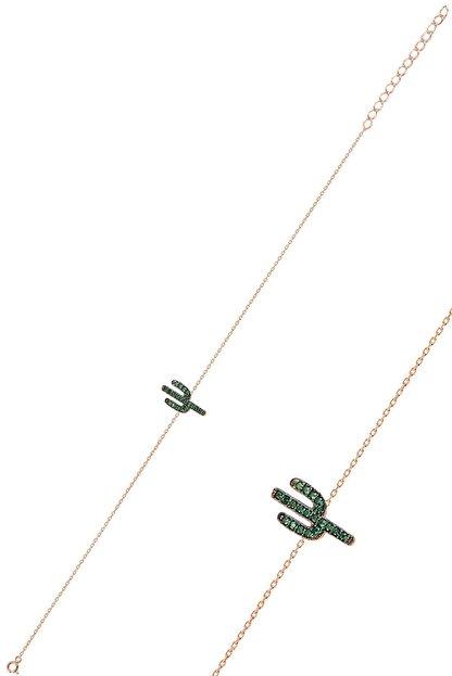 Söğütlü Silver Gümüş Rose Yeşil Taşlı Kaktüs Bileklik