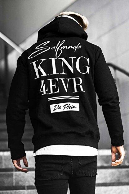 DE PLEIN Unisex King Siyah Baskılı % 100 Pamuk Kapüşonlu Sweatshirt