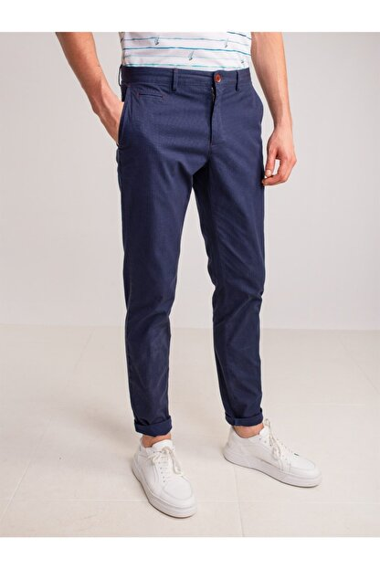 Dufy Lacivert Aksesuar Detaylı Armür Pamuklu Likra Erkek Pantolon - Modern Fit