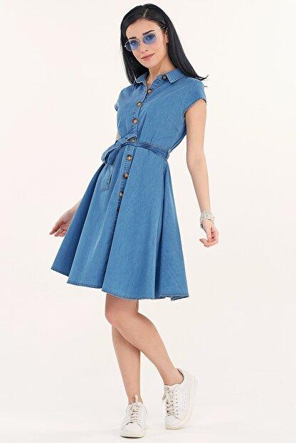 Fullamoda Kuşaklı Kot Elbise