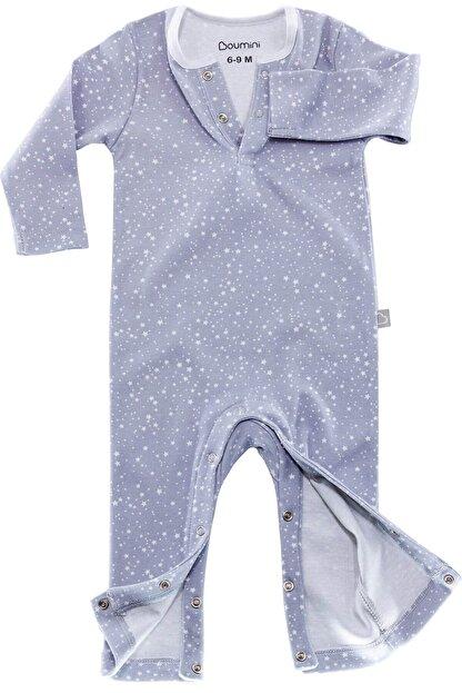 Boumini Unisex Bebek Mavi Uzun Kollu Çıtçıtlı Tulum Yıldız Tozu