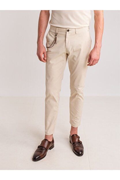Dufy Taş Aksesuar Detaylı Armür Pamuklu Likra Erkek Pantolon - Modern Fit