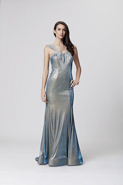 Abiye Sarayı Mavi Askı Ve Sırt Detaylı Simli Uzun Balık Abiye Elbise