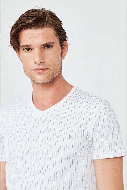 Avva Erkek Beyaz V Yaka Baskılı T-shirt A02y1040