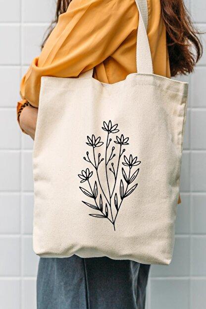 Çınar Bez Çanta Kanvas Flower Bag Bez Çanta C0524