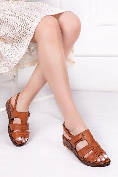Deripabuc Hakiki Deri Taba Kadın Deri Sandalet Crz-0542