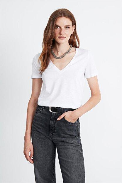 GRIMELANGE Paısley Kadın Beyaz V Yakalı Kısa Kollu T-shirt