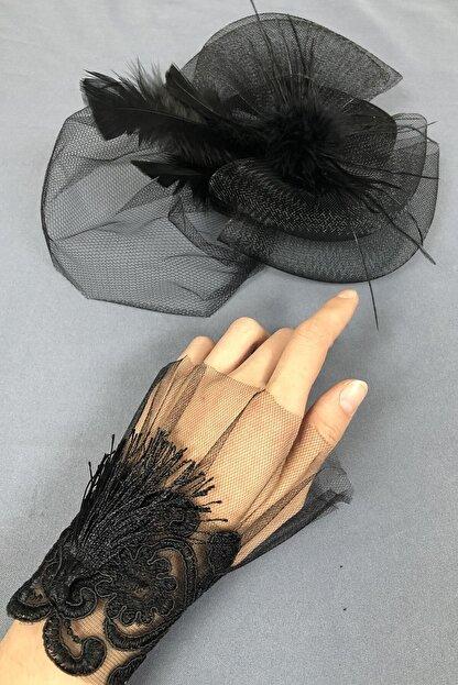 Hayalperest boncuk Siyah Vualet Şapka Ve Bileklik Aksesuar