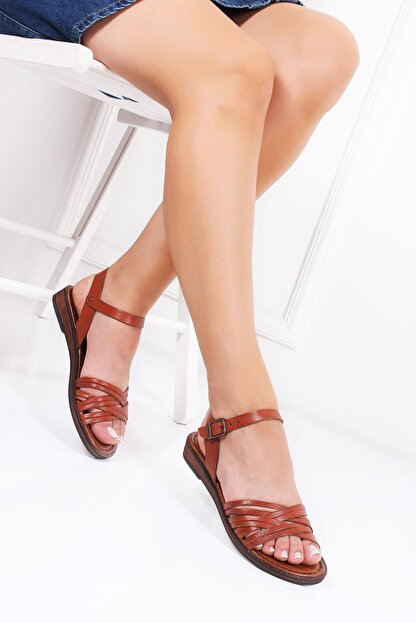 Deripabuc Hakiki Deri Taba Kadın Deri Sandalet Dp-0013
