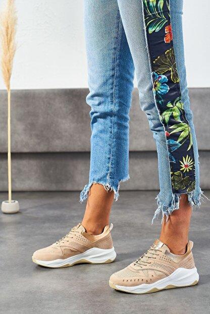 Louis Cardy Nixus Bej Nubuk Hakiki Deri Kadın Sneakers