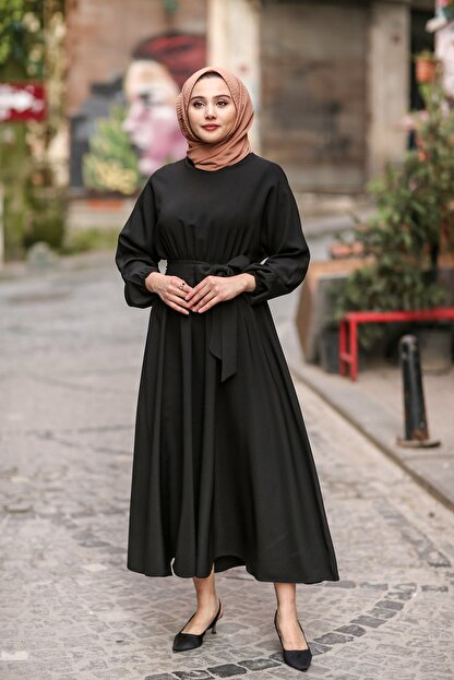 benguen 7069 Tesettür Elbise - Siyah