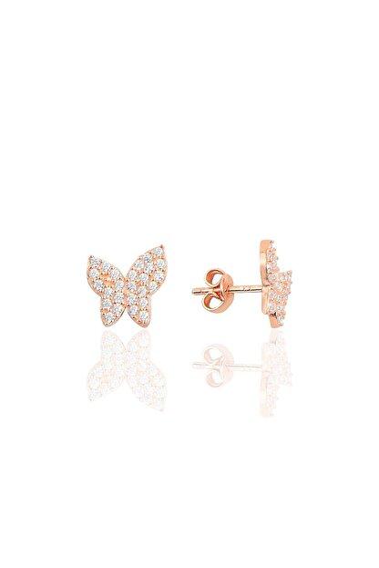 Söğütlü Silver Gümüş Rose Taşlı Kelebek Küpe