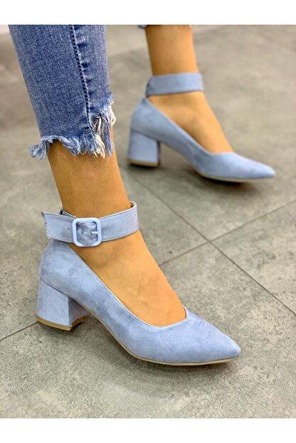 Lal Shoes & Bags Bilekten Kemer Detaylı Kadın Topuklu Ayakkabı-s. Bebe Mavi