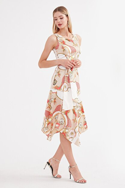 Journey U Yaka Elbise - Etek Altı Asimetrik, Belden Kuşaklı Kolsuz