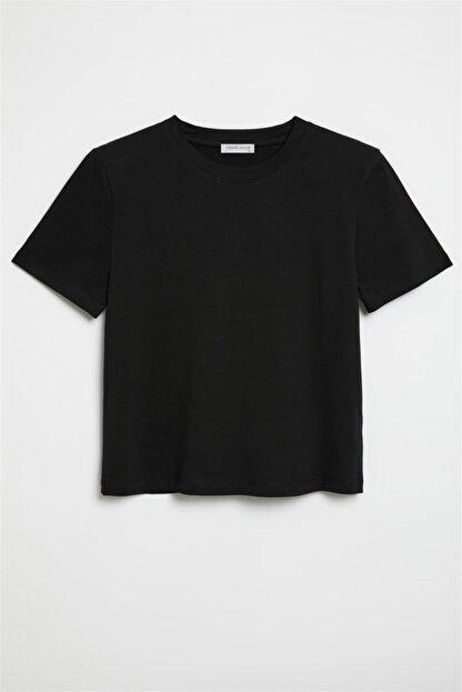 GRIMELANGE Hannah Kadın Siyah Yuvarlak Yakalı Basic T-shirt