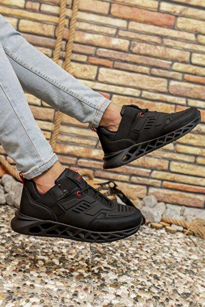 Riccon Siyah Kırmızı Erkek Sneaker 00122021