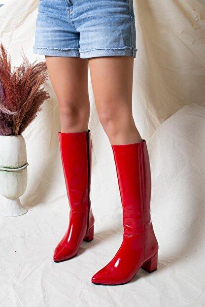 Deripabuc Hakiki Deri Kırmızı Rugan Kadın Deri Çizme Dp02-0404