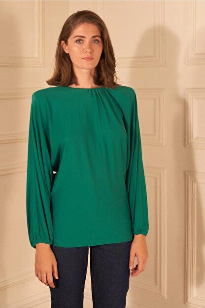adL Kadın Yeşil Örme Yakası Büzgülü Bluz
