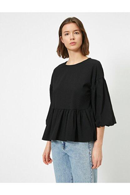 Koton Kadın Siyah Balon Kollu Fırfırlı Bluz