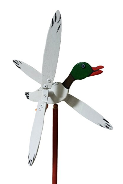 Rüzgaristan Yeşil Başlı Ördek Ahşap Rüzgar Gülü