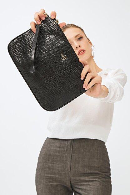 Deri Company Kadın Basic Clutch Çanta Kroko Timsah Desen Siyah 214002