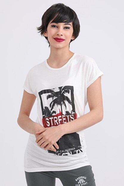 metropol tekstil Krt-001 Steerts Baskılı Bisiklet Yaka T-shirt Krem