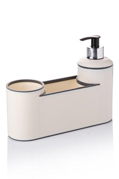 Queen's Kitchen Bej Akrilik Lüx Sıvısabunluk Fırçalık ve Süngerlik Seti