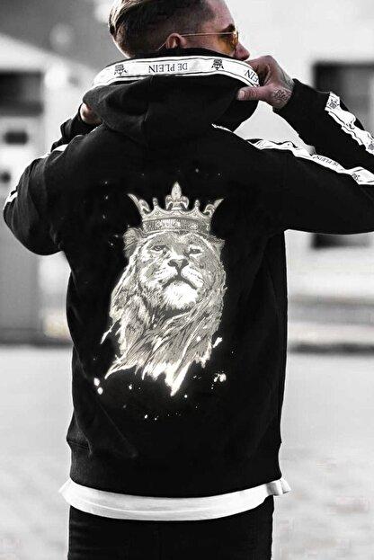 DE PLEIN Unisex Lion Siyah Baskılı % 100 Pamuk Kapüşonlu Sweatshirt