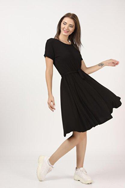 Tena Moda Kadın Siyah Beli Büzgülü Elbise