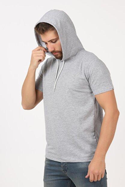 Tena Moda Erkek Gri Kısa Kollu Kapşonlu Basic Tişört