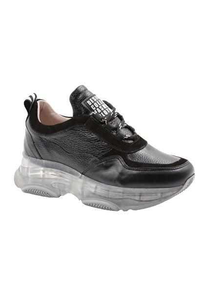 Abbondare Hakiki Deri Siyah Kadın Spor Ayakkabı-sneaker