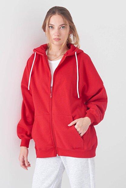 Addax Kadın Kırmızı Kapüşonlu Uzun Hırka H0725 - W6 - W7 ADX-0000020316