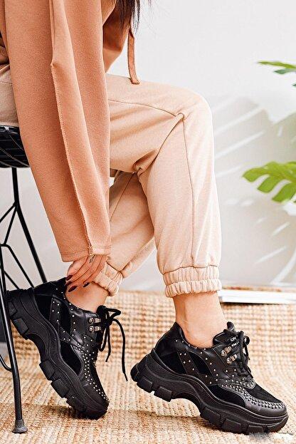 Limoya Ines Siyah Zımba Detaylı Sneakers