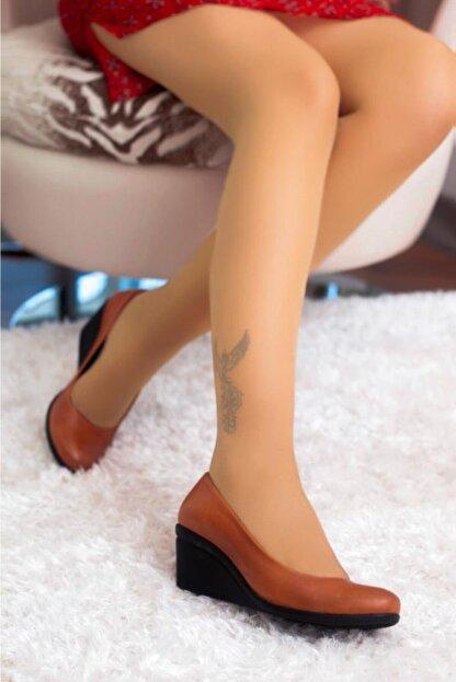 Deripabuc Hakiki Deri Taba Kadın Dolgu Topuklu Deri Ayakkabı Trc-0274