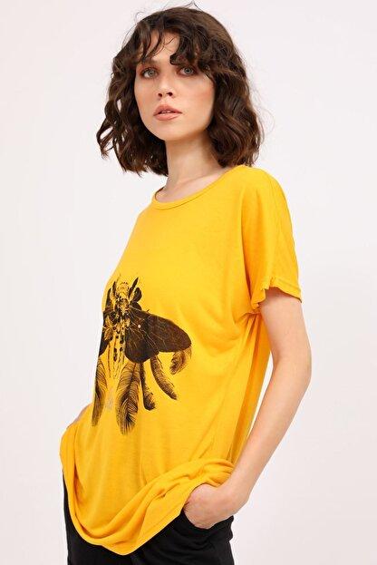metropol tekstil Krt-061 Desenli Tshirt Hardal