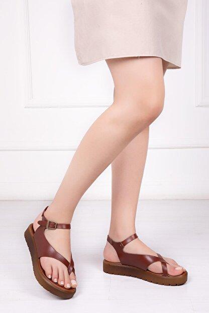 Deripabuc Hakiki Deri Kahverengi Kadın Deri Sandalet Dp-1081