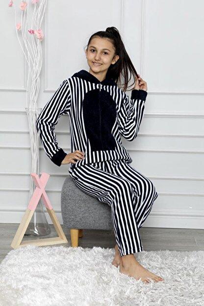 nisaNCa Desenli Kışlık Kız Çocuk Polar Tulum Pijama Takımı