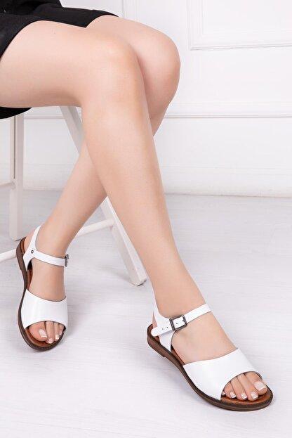 Deripabuc Hakiki Deri Beyaz Kadın Deri Sandalet Dp-0086